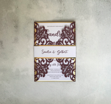 Load image into Gallery viewer, Burgundy Laser Cut Wedding Invitation