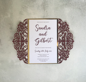 Burgundy Laser Cut Wedding Invitation