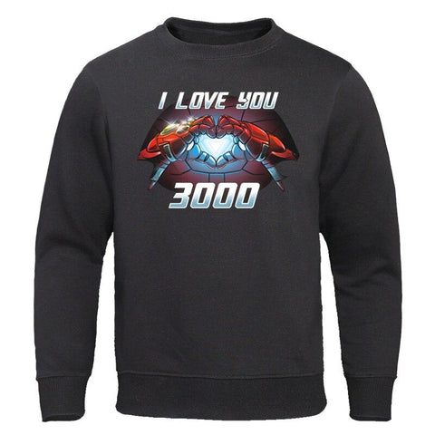 Fashion Brand Mens Hoodies Superhero Iron Man Tony Stark Pullovers I Love You 3000 Letter Print Streetwear Hip Hop Sweatshirts