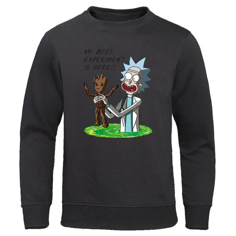Autumn casual mens Sweatshirt Rick and morty Groot printed men Hoodies Mens loose Funny Hoodie Streetwear high quality Pullover