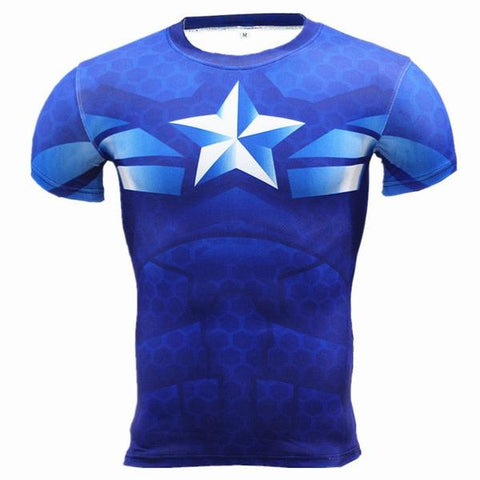 T-Shirt Captain America Homme Musculation-Marvel World Shop