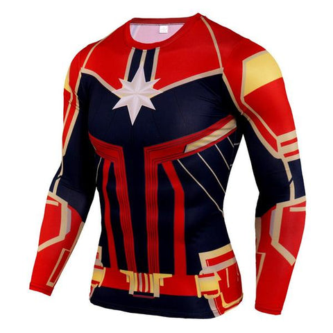 T-Shirt Compression Captain Marvel-Marvel World Shop