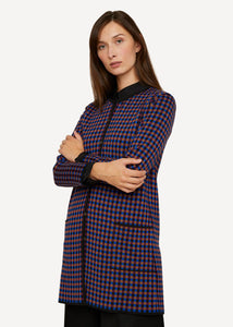 Oleana Gingham graph Long Cardigan