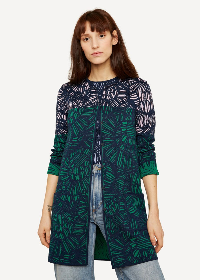 Oleana Pencil trace long Cardigan