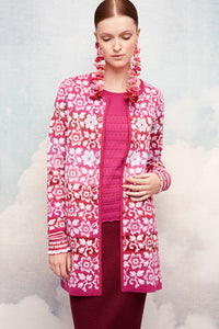Oleana Flower and flounce Long Cardigan