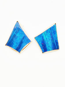 Amazing boulder opal and 14k earrings