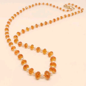 Mandarin Garnet and Pearl Necklace