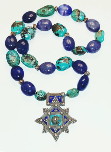 Turquoise and Blue Agate statement necklace