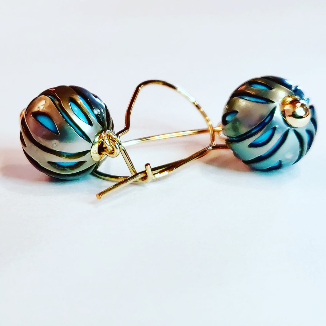 Unusual Turquoise Nucleated Tahitian Pearl Earrings