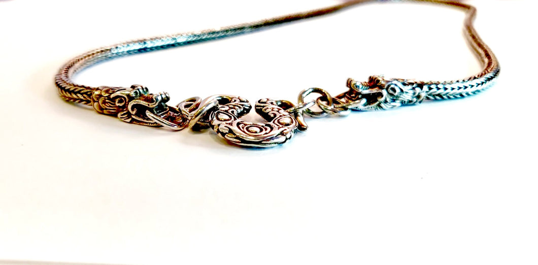 Dragon End Silver Necklace