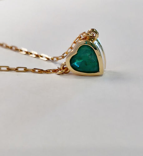 Emerald Heart Necklace on Yellow Gold Chain