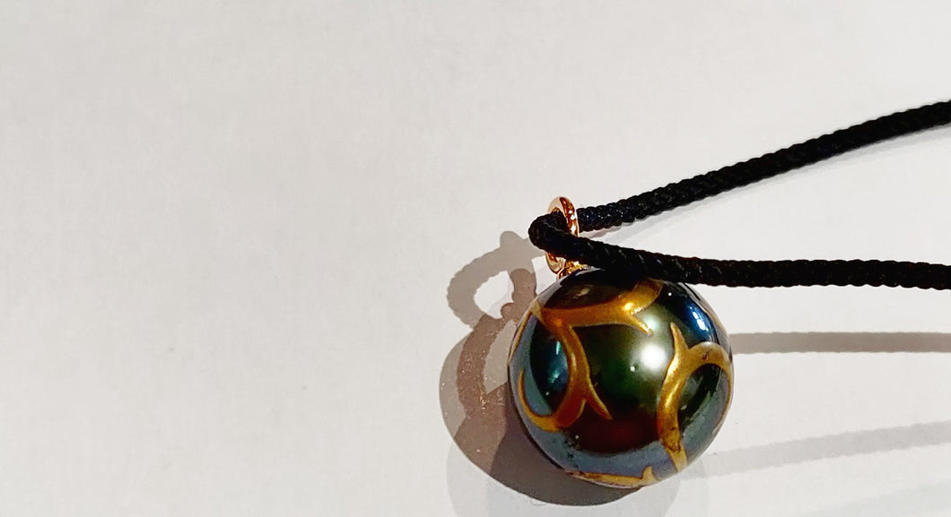 Tahitian Pearl with Inlaid Gold on Silk Cord
