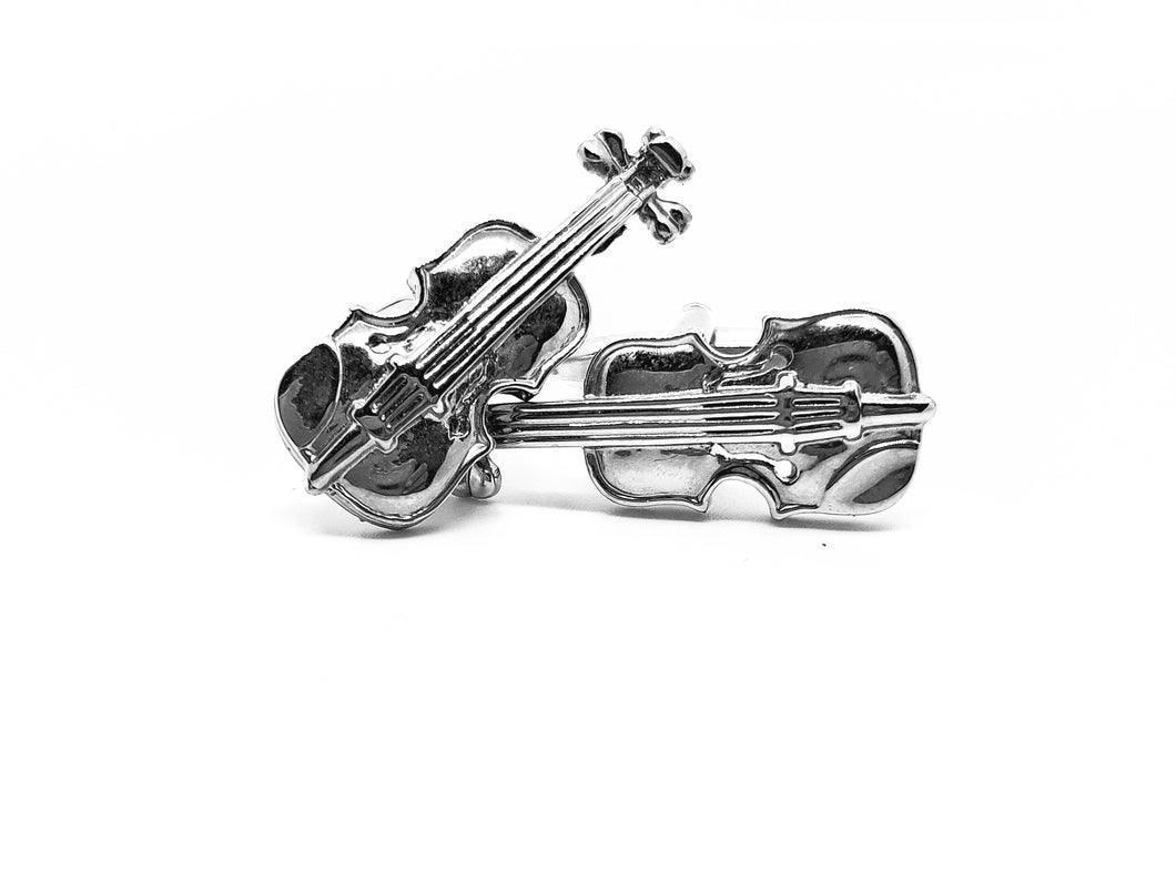 Silvertone violin or fiddle cufflinks