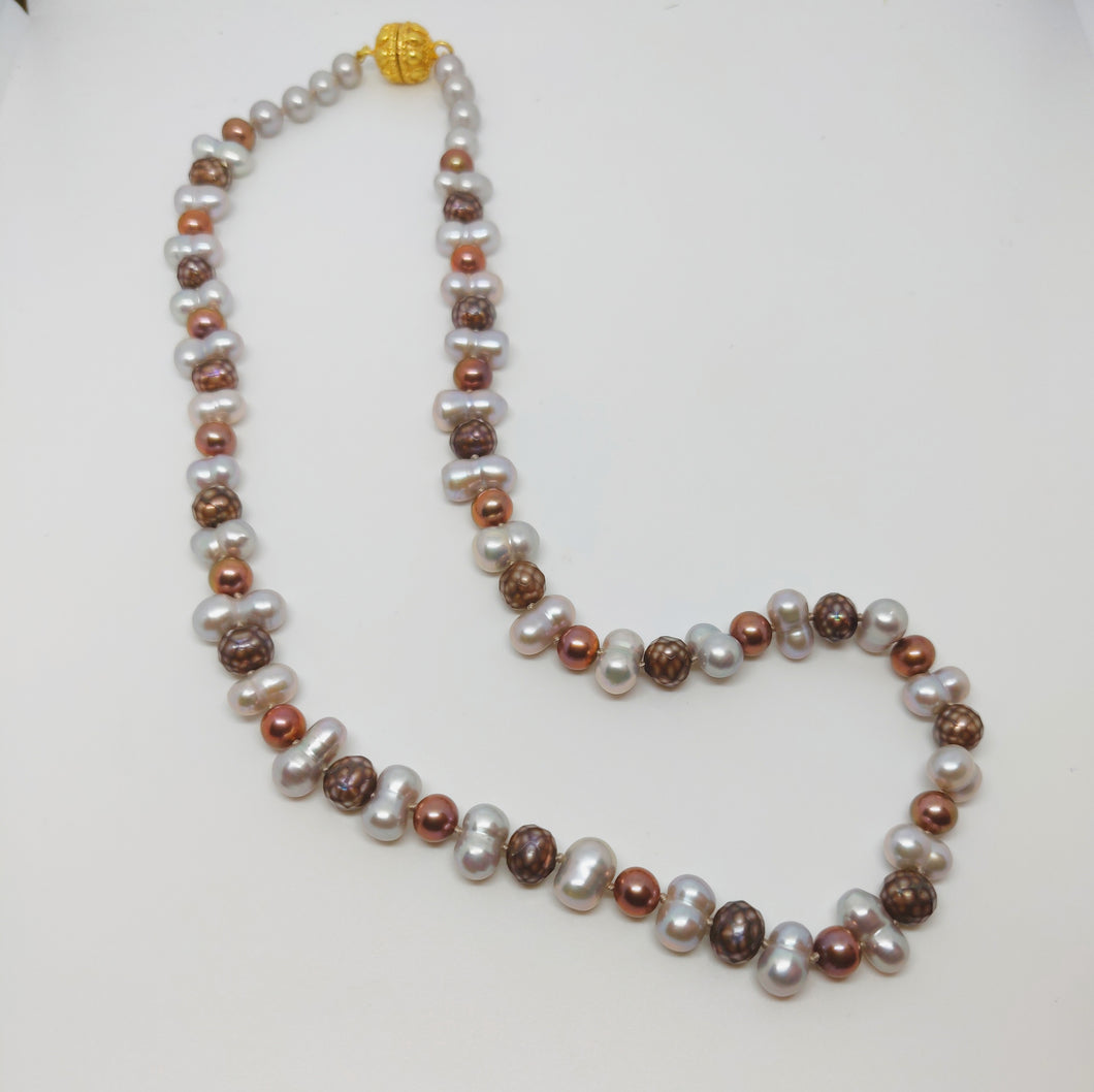 Cocoa Pearl and Freshwater Necklace