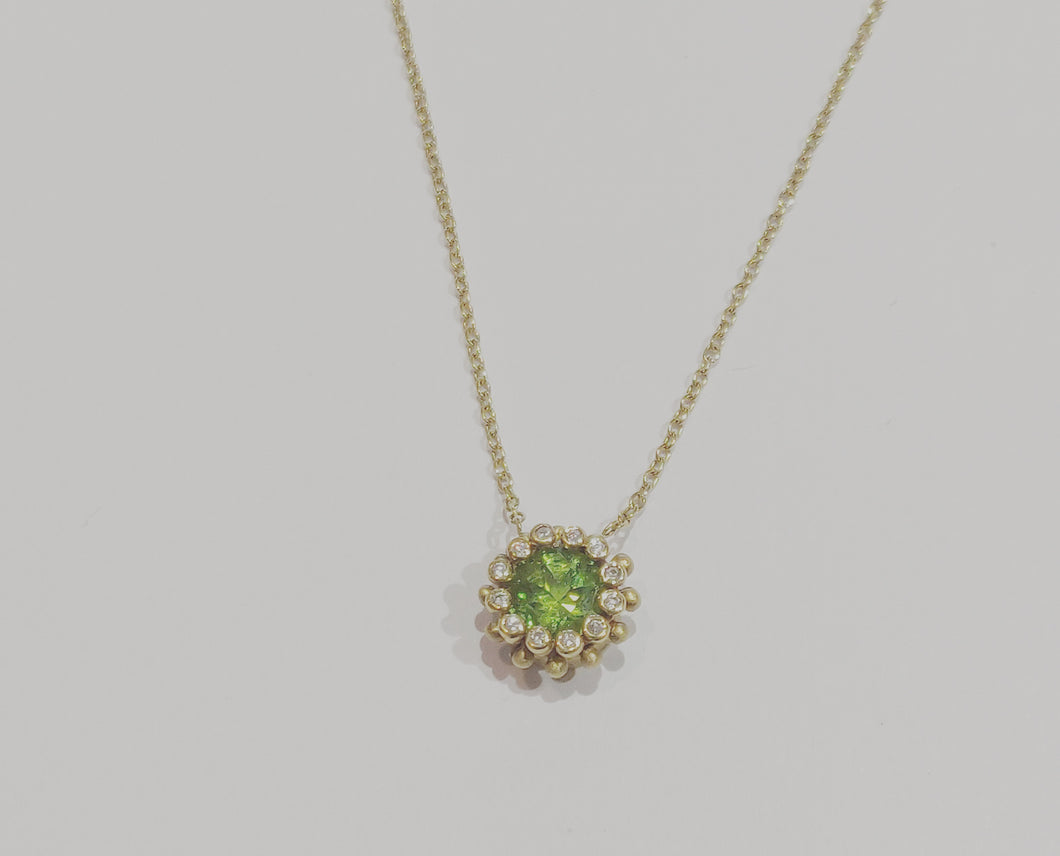 Suzy Landa Peridot and Diamond Necklace
