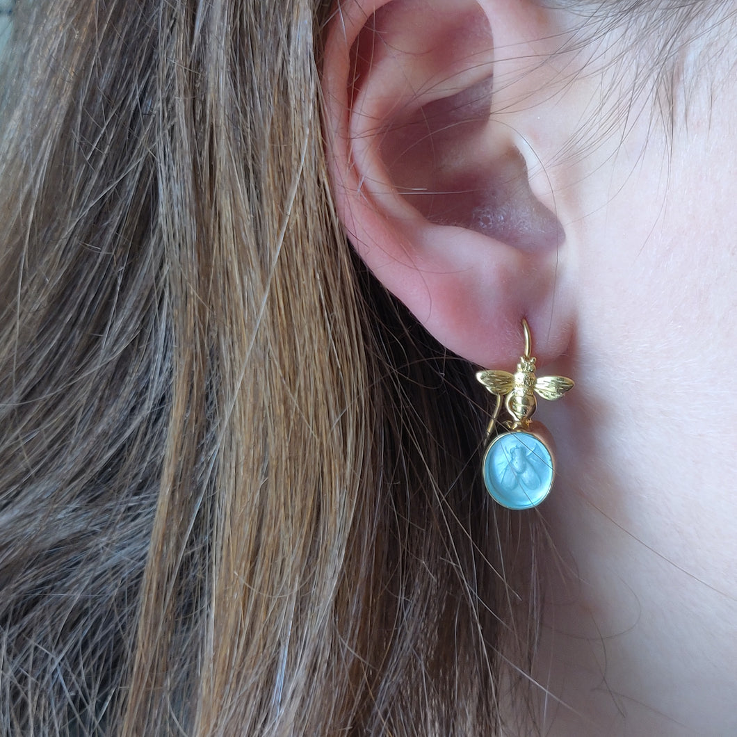 Bee earrings with gold and intaglio bees