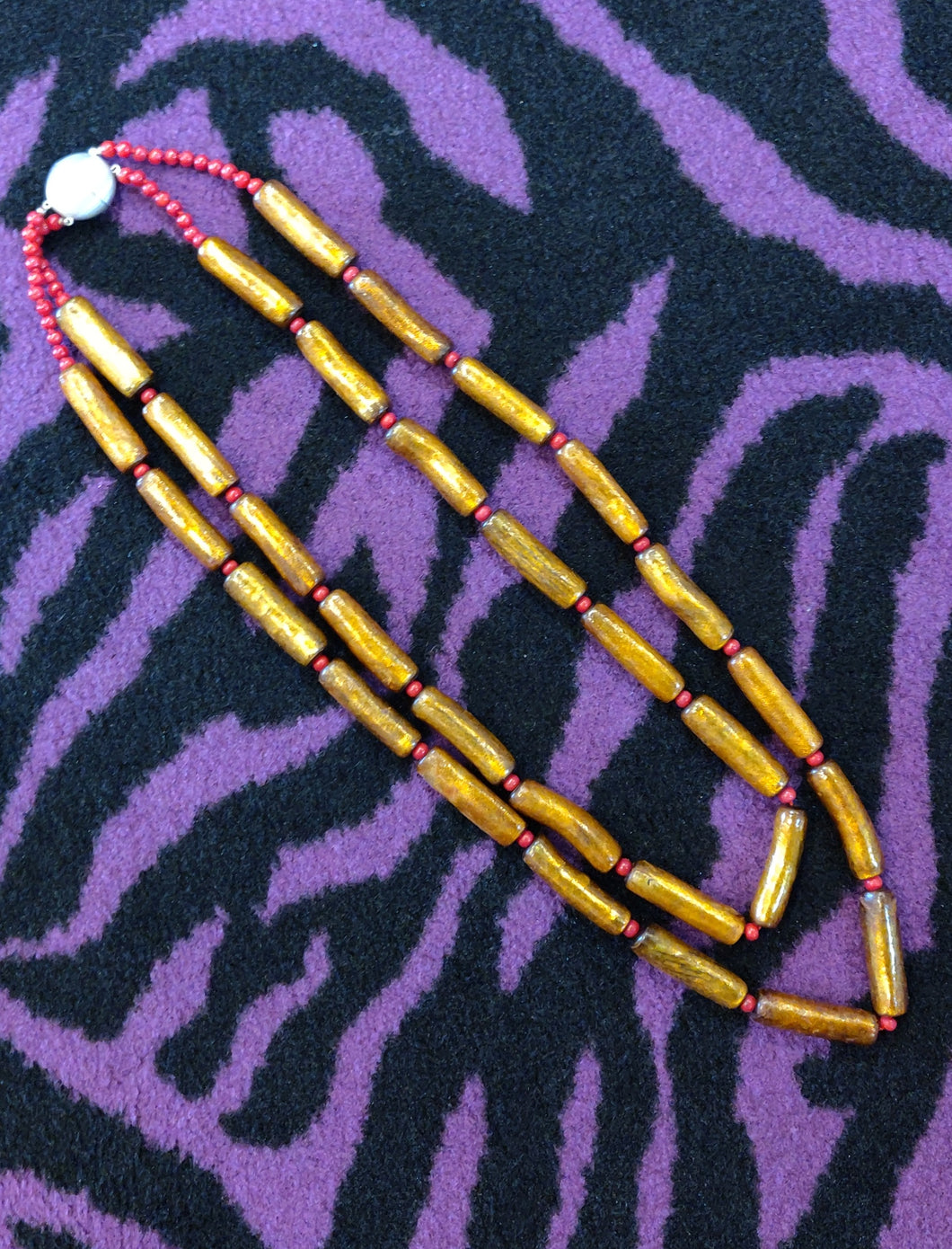 Golden Bamboo and Stem Coral Beads