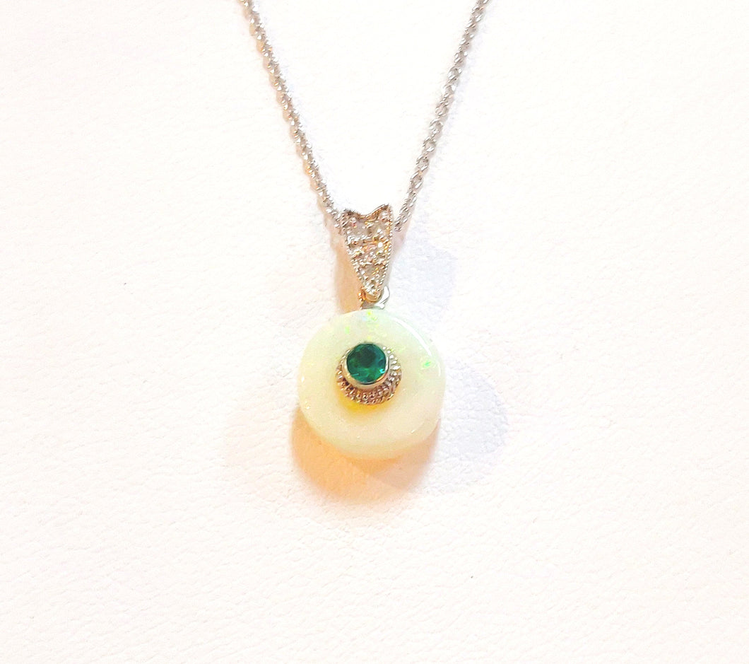 One of a Kind Opal and Emerald pendant