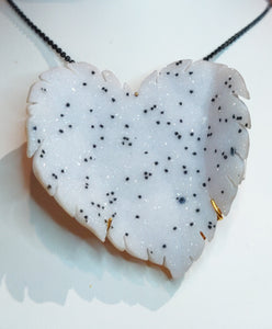 Salt and pepper druzy quartz heart shaped pin pendant