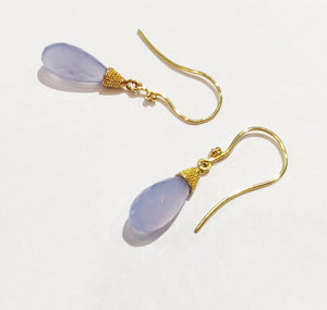 Blue Chalcedony and 22k Earrings.