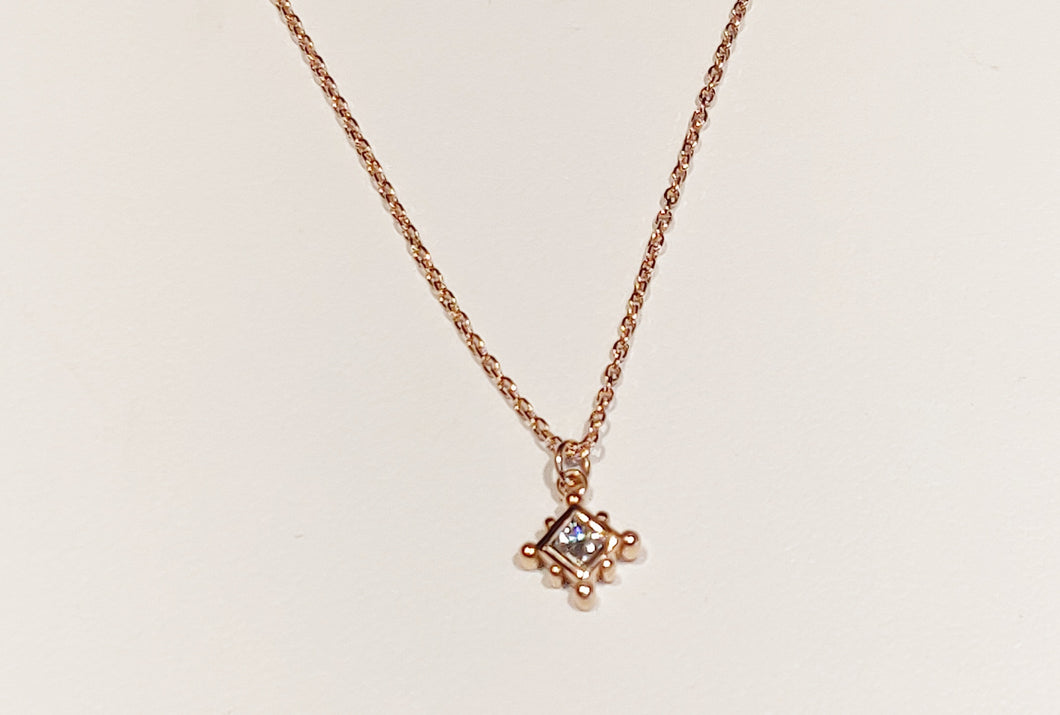 Rose gold and diamond solitaire necklace