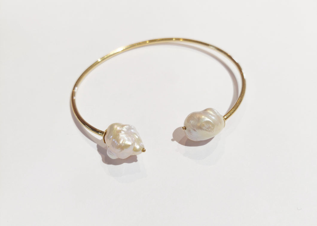 Double Pearl Bangle Bracelet