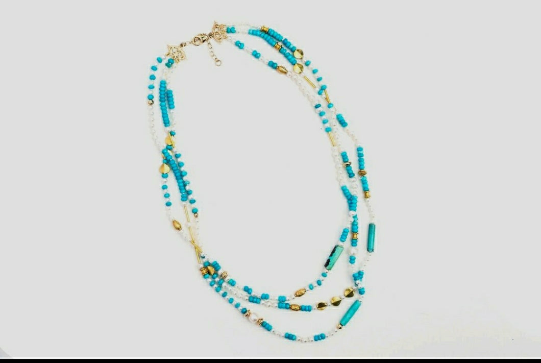 Triple Strand turquoise and pearl necklace