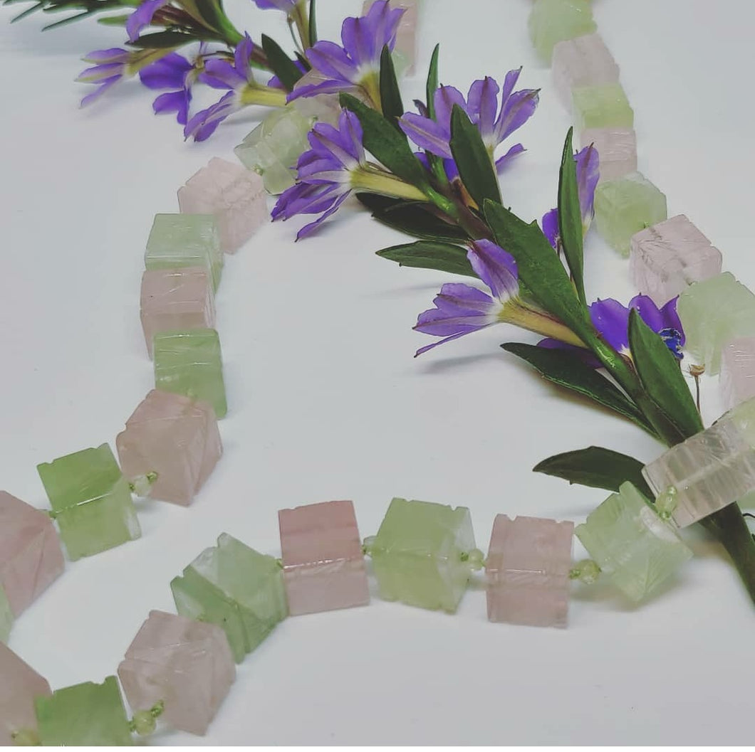 Prehnite and Rose Quartz Necklace