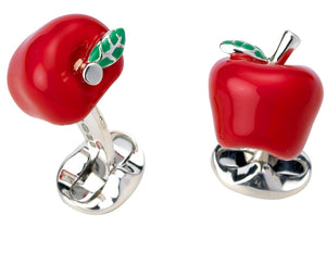 Big Apple Cufflinks - Enamel Red and Green