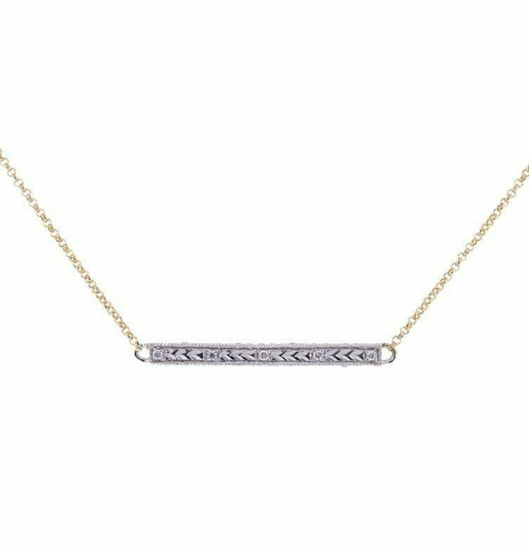 Hand Engraved Diamond Bar Necklace
