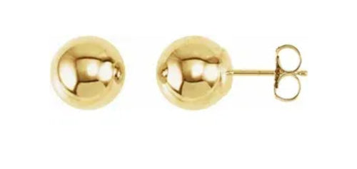 10 millimeter gold ball hollow earrings