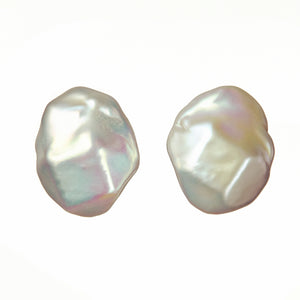 Cubic nucleated pearl earrings