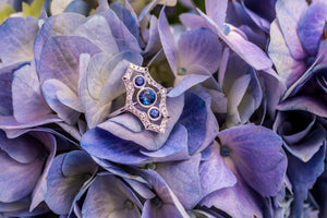 Victorian-style blue sapphire and diamond ring