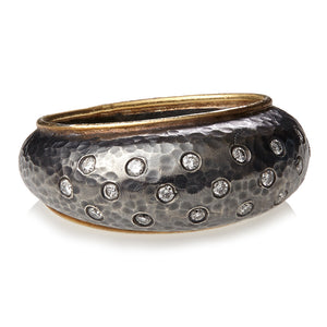 Black Sterling, 18k Gold and Diamond Ring