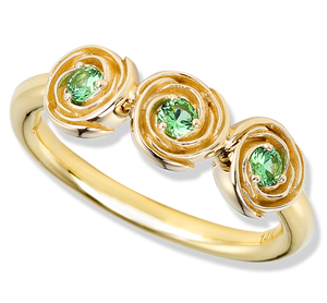 Tsavorite 18k flower ring