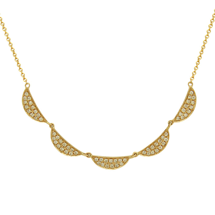 Scalloped pave necklace