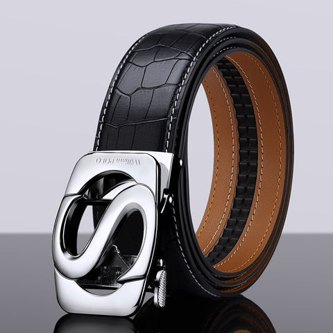 S Automatic Buckle Leather Belt