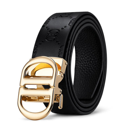 Solid Genuine Leather Buckle With Automatic Ratchet Leather