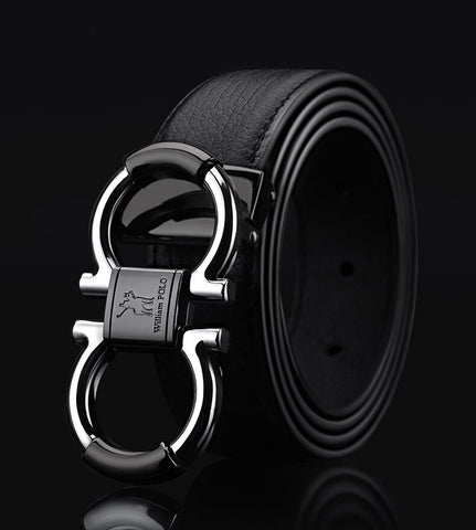 Men's Solid Genuine Leather Buckle With Automatic Ratchet Leather