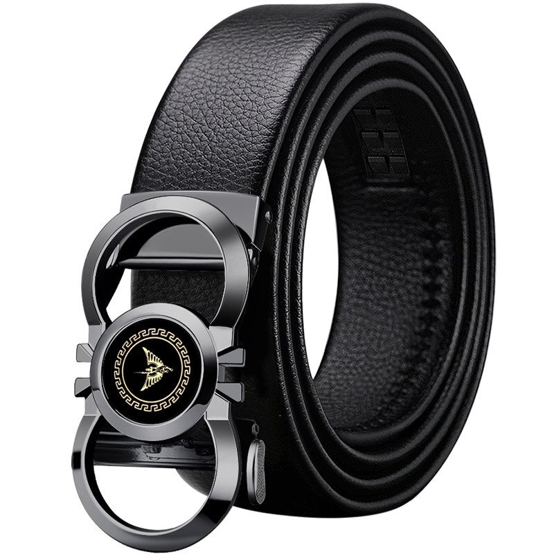 Men Top Quality Genuine Luxury Leather Automatic Buckle Belts