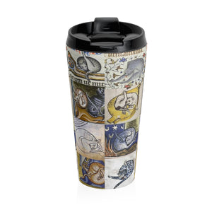 Medieval Cats Licking Their Butts Stainless Steel Travel Mug