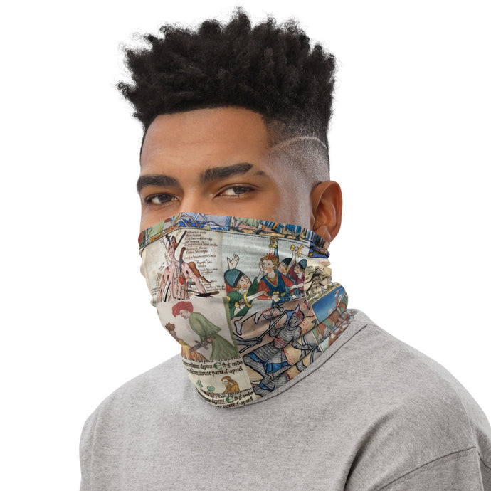 People Getting Stabbed in Medieval Manuscripts Face Mask/Neck Gaiter