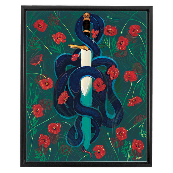 Poppies in the Water (2019) Framed Canvas Print