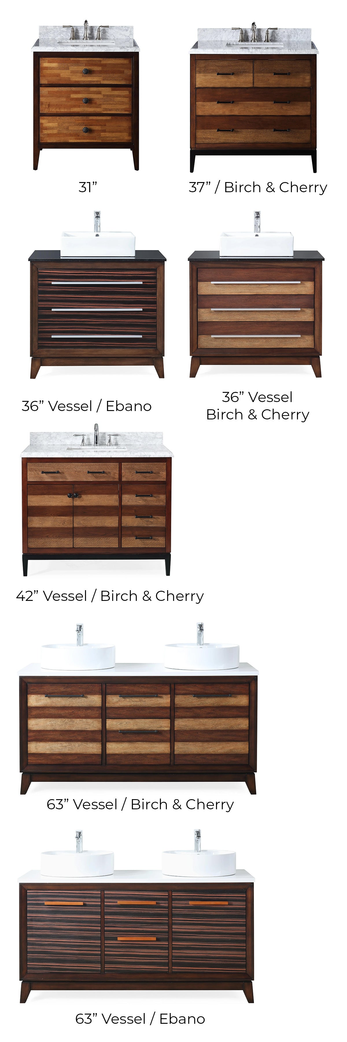 Rayee Modern Bathroom Vanity Collection Color Chart