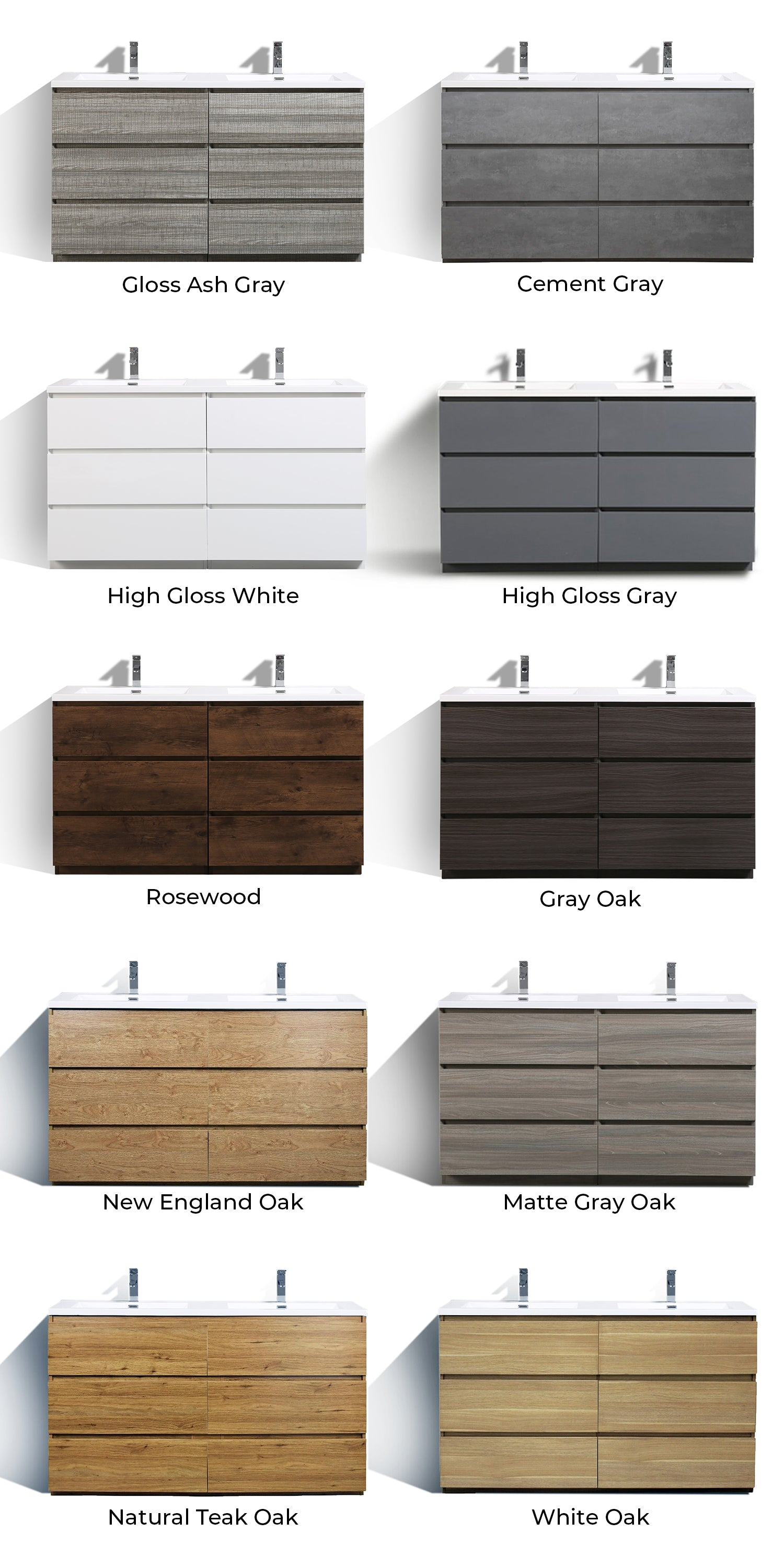 Monterey Modern Vanity Collection Color Chart