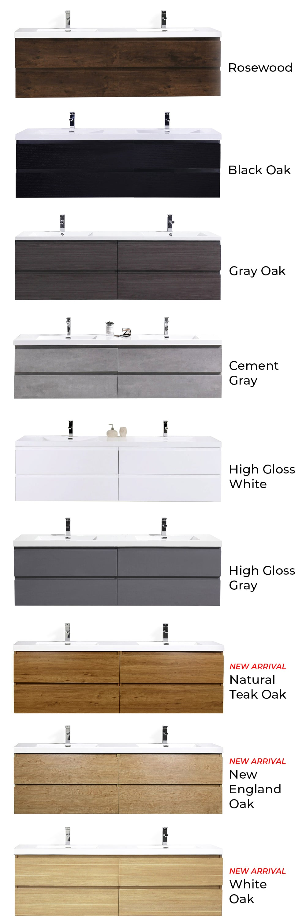 Monterey Floating Vanity Color Collection Chart