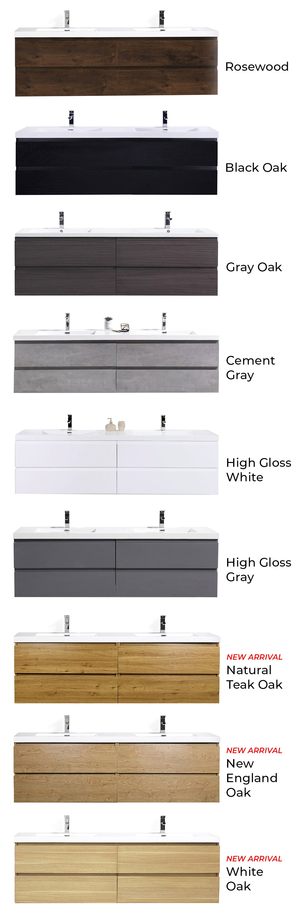Floating Vanity Collection Color Selection