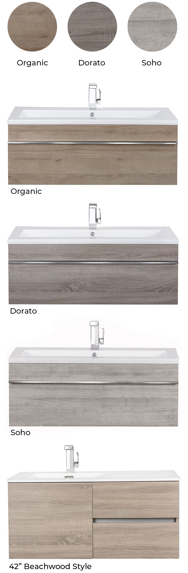 Trough Collection Floating Vanity Color Chart