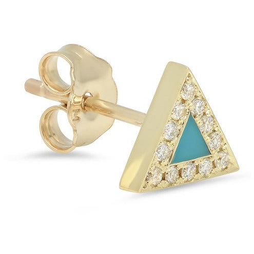Turquoise Inlay Triangle Studs with Diamonds