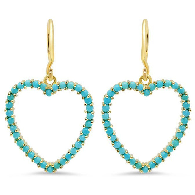 Turquoise Large Open Heart Drop Earrings